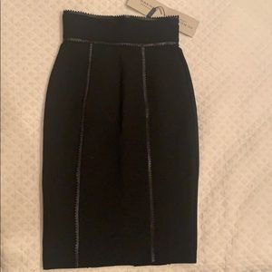 NWT BURBERRY skirt with leather trim